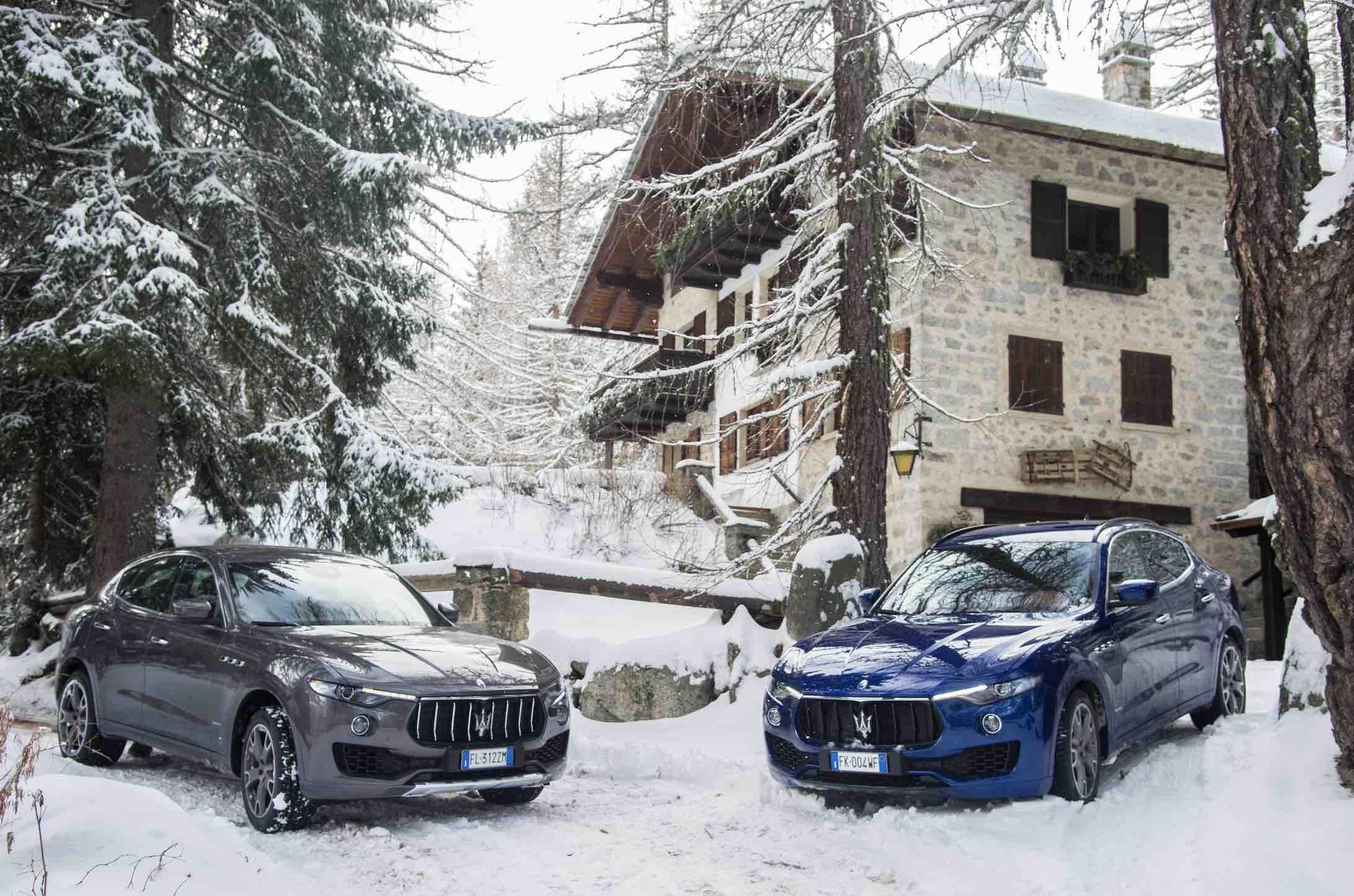 Maserati Marriott winter scene in front of Italian resort