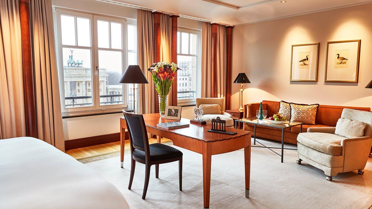 Hotel Adlon Kempinski luxury hotels in Berlin with view of Brandenburg Gate